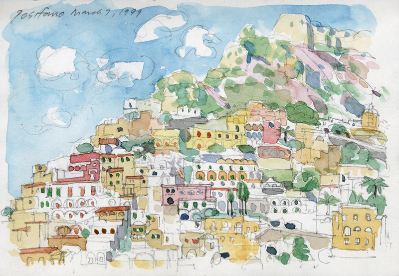 Positano Italy John Thompson Paintings